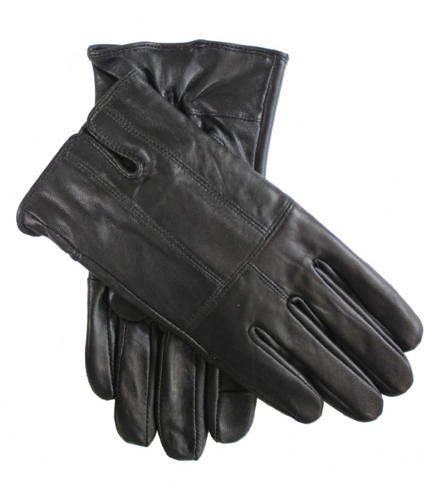 Ladies touch black leather winter gloves  (HT268WG6604)